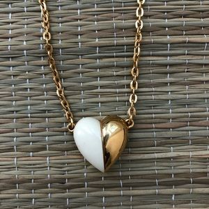 Vintage Trifari Cream & Gold Heart Necklace